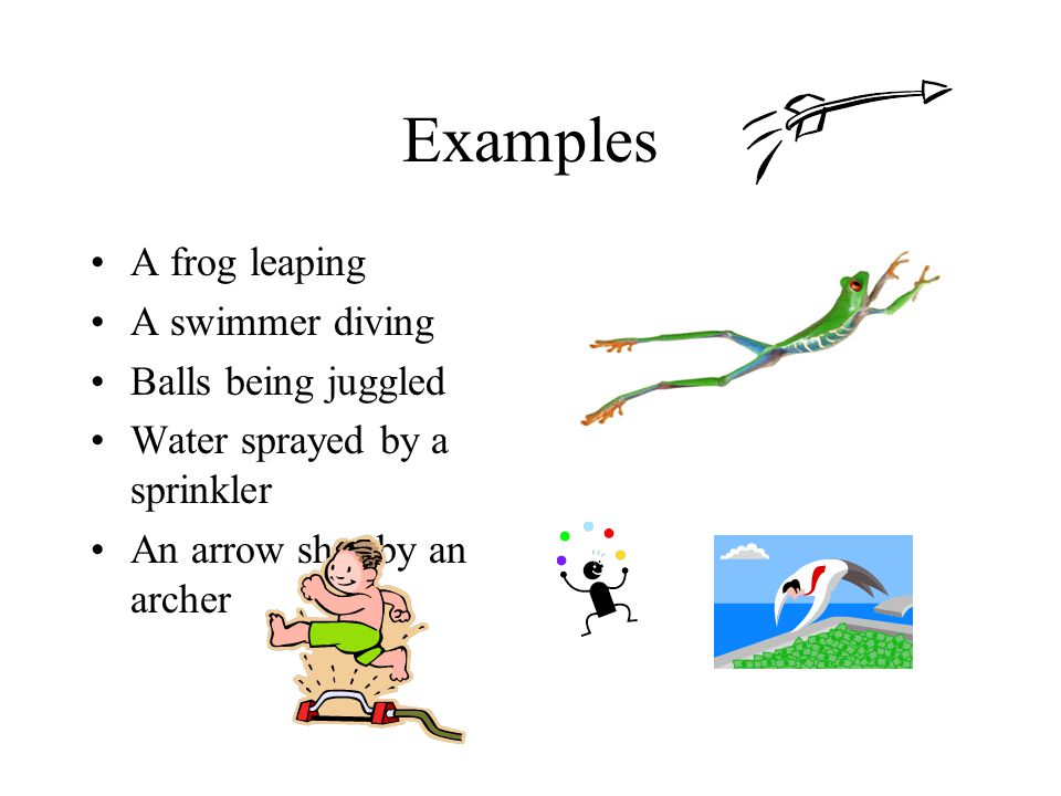 Examples A frog leaping A swimmer diving Balls being juggled