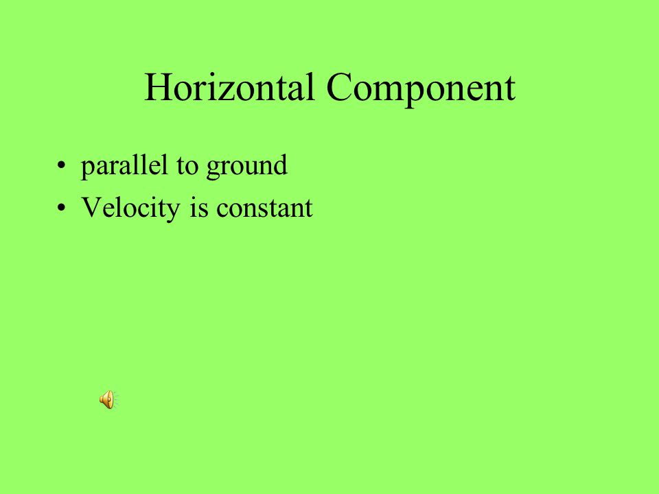 Horizontal Component parallel to ground Velocity is constant