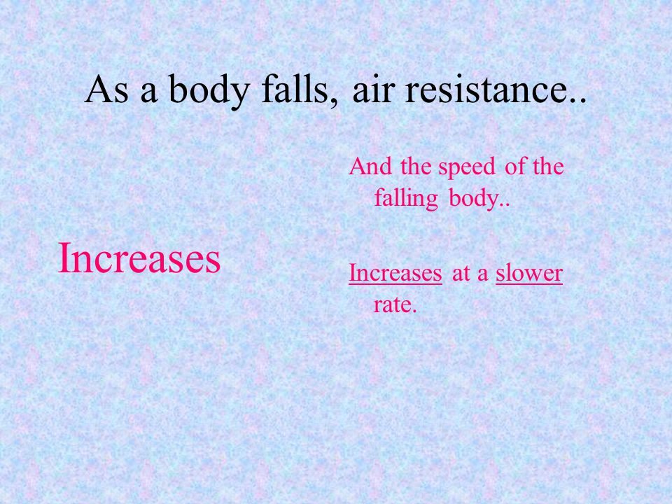 As a body falls, air resistance..