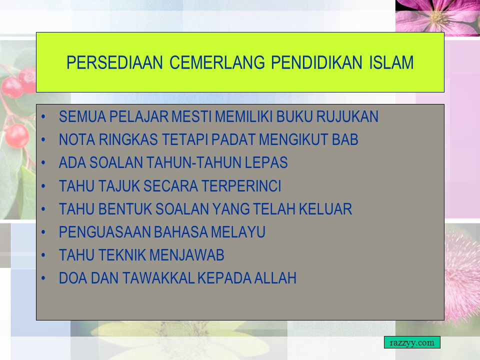 PERSEDIAAN CEMERLANG PENDIDIKAN ISLAM