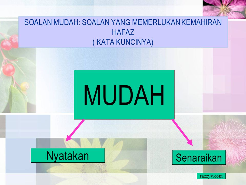 SOALAN MUDAH: SOALAN YANG MEMERLUKAN KEMAHIRAN HAFAZ ( KATA KUNCINYA)