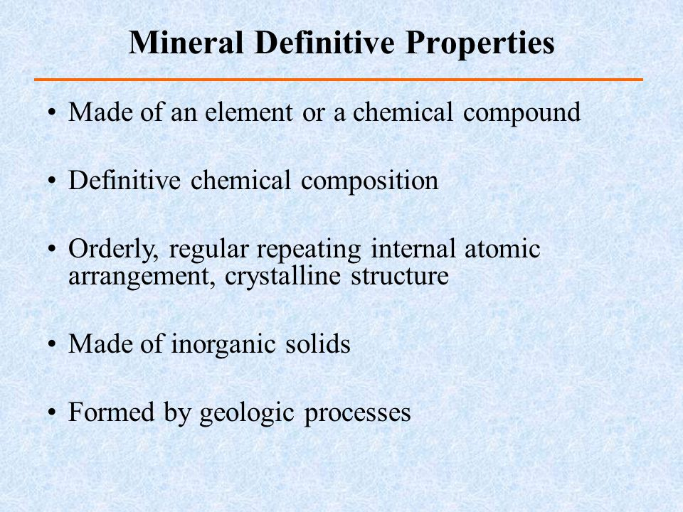 Mineral Definitive Properties