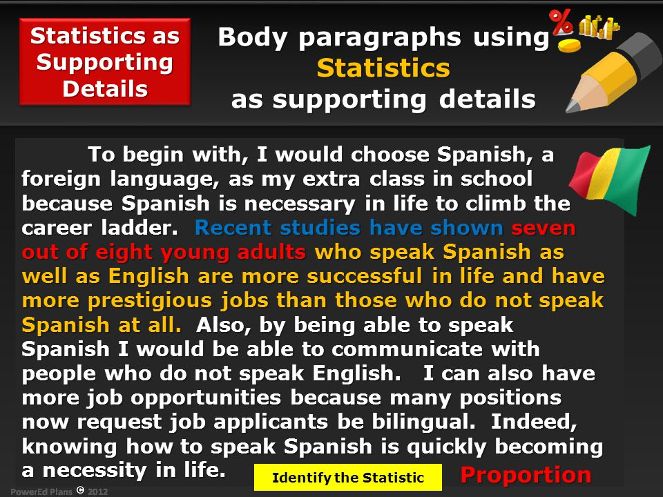 Body paragraphs using Statistics as supporting details