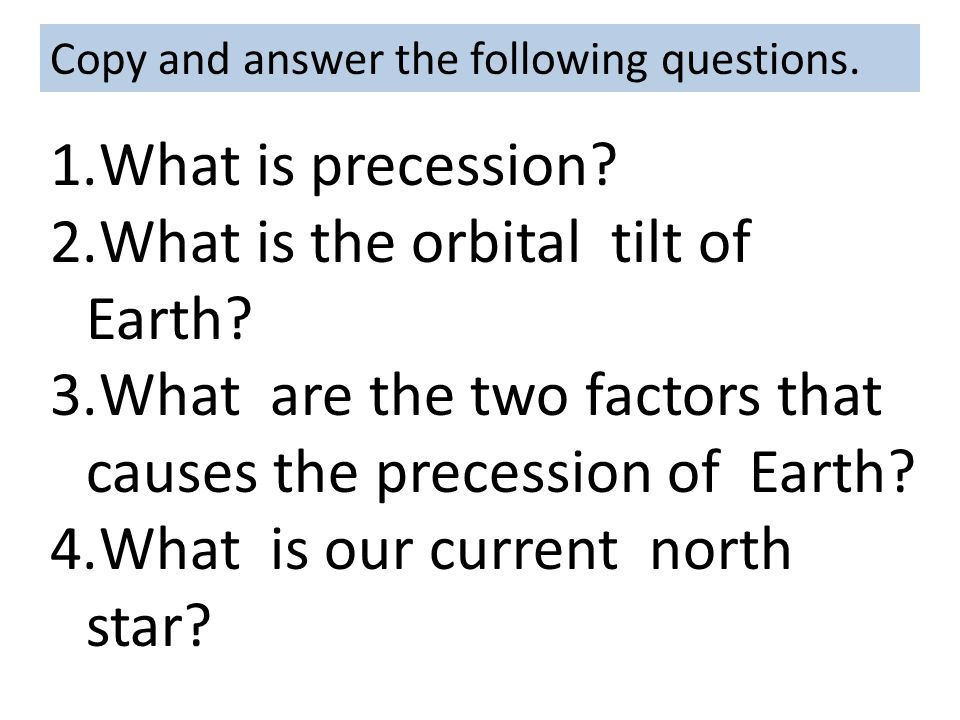 What is the orbital tilt of Earth