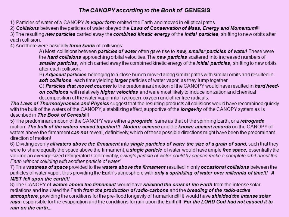 The CANOPY according to the Book of GENESIS