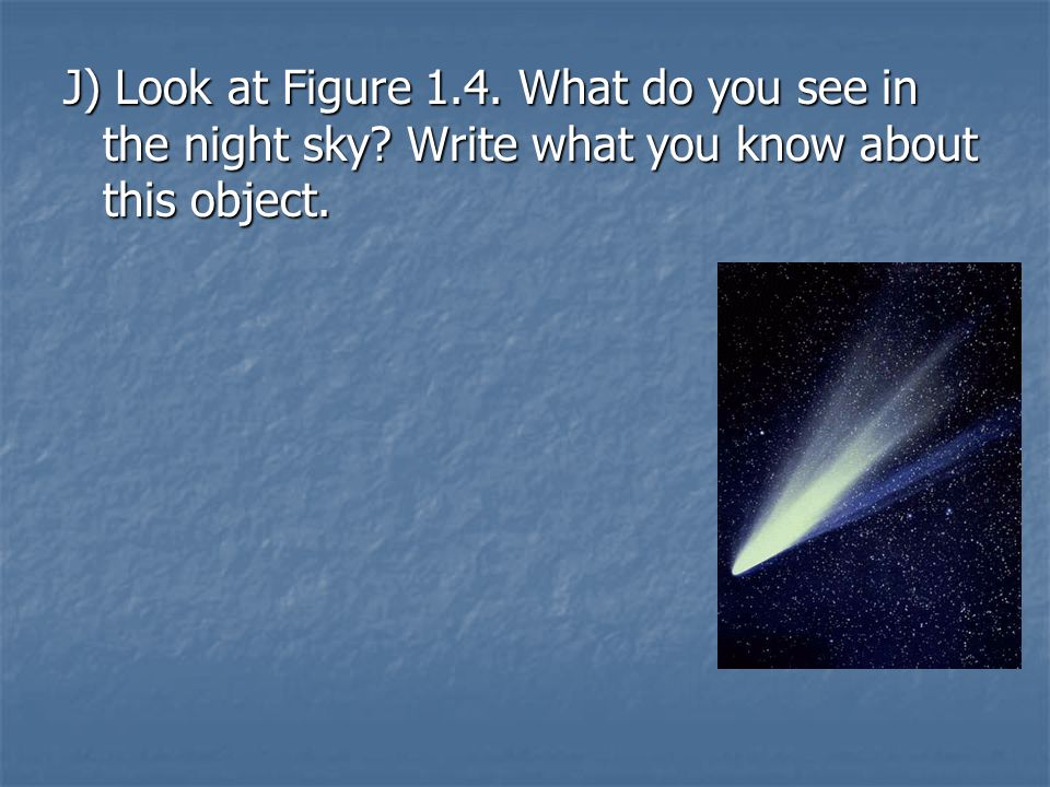 J) Look at Figure 1. 4. What do you see in the night sky