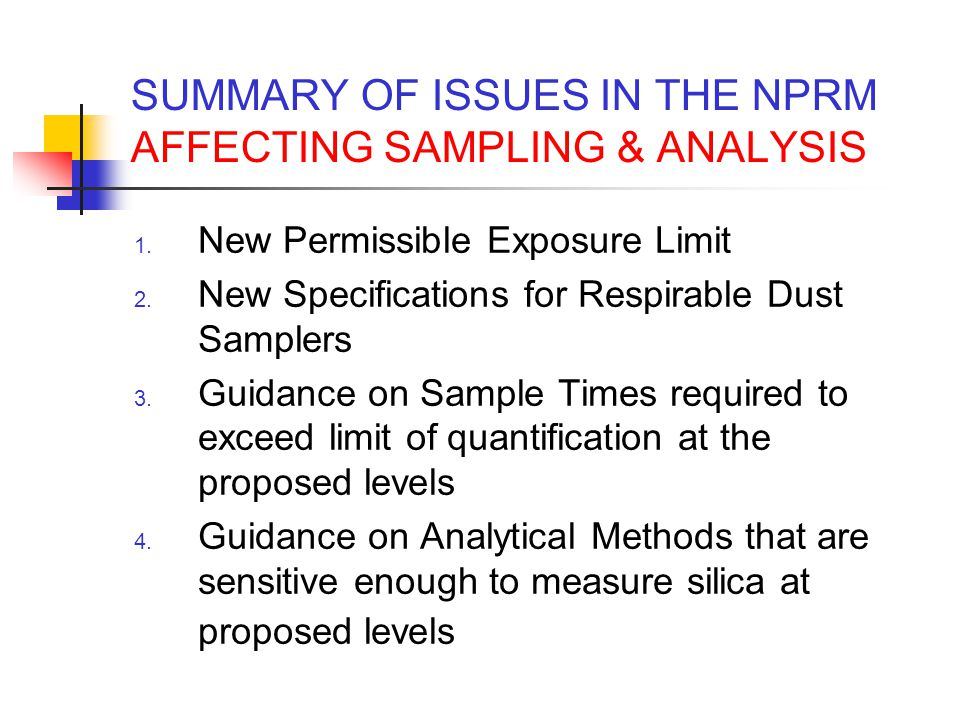 SUMMARY OF ISSUES IN THE NPRM AFFECTING SAMPLING & ANALYSIS