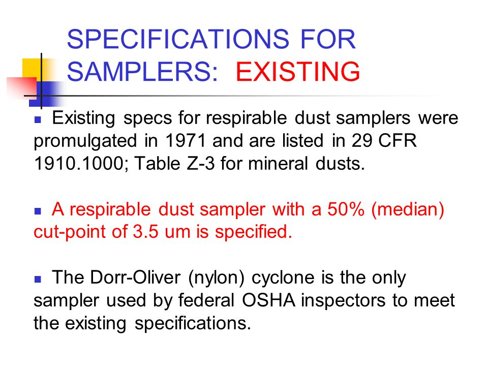 SPECIFICATIONS FOR SAMPLERS: EXISTING
