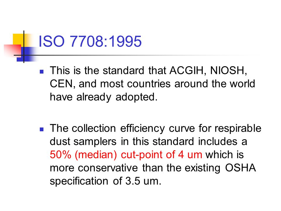 ISO 7708:1995 This is the standard that ACGIH, NIOSH, CEN, and most countries around the world have already adopted.