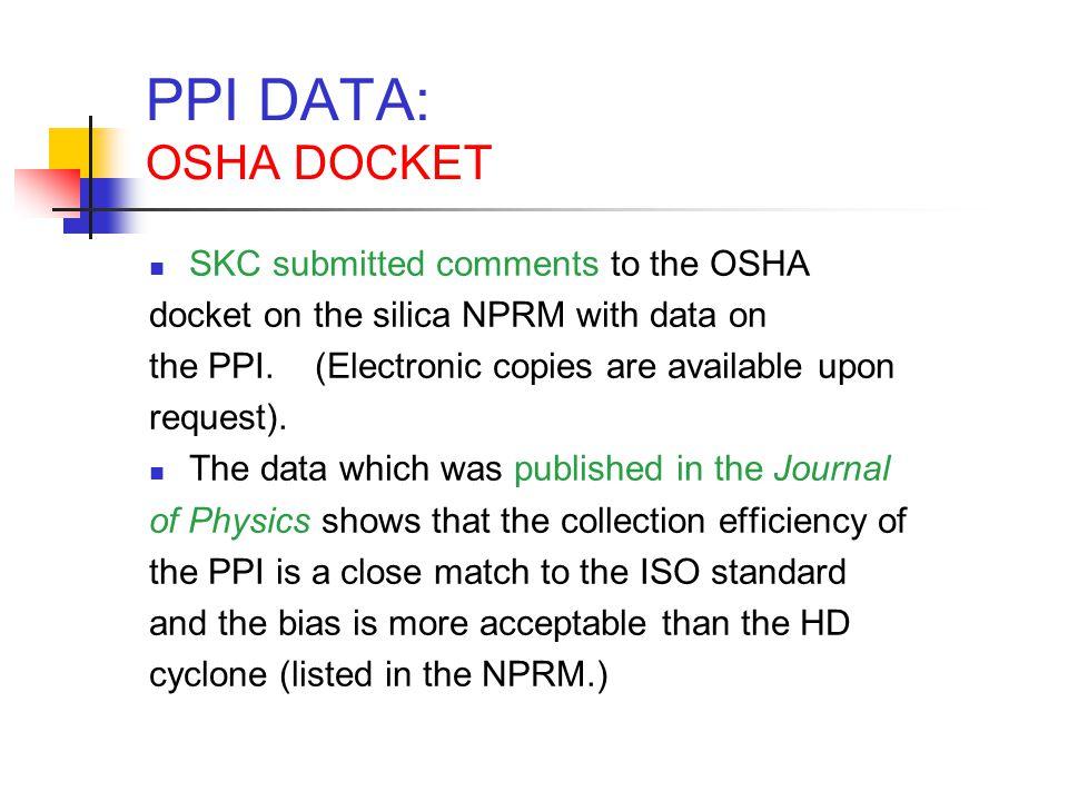 PPI DATA: OSHA DOCKET SKC submitted comments to the OSHA