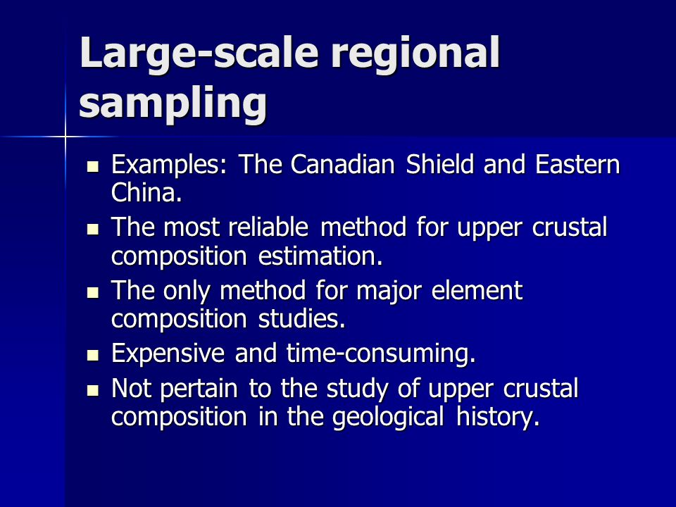 Large-scale regional sampling