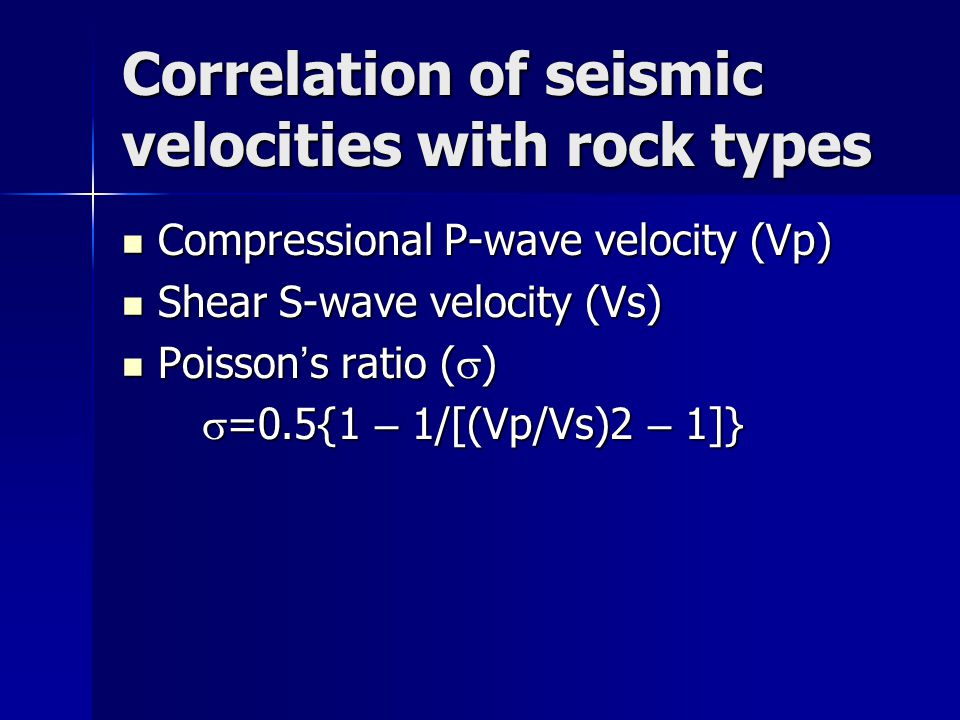 Correlation of seismic velocities with rock types
