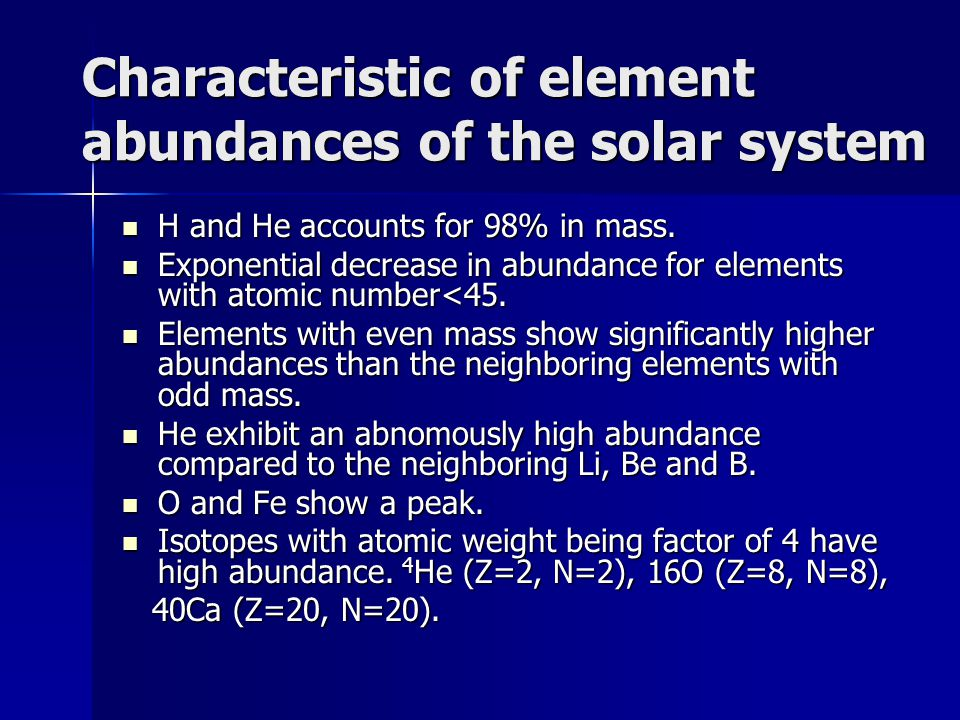 Characteristic of element abundances of the solar system