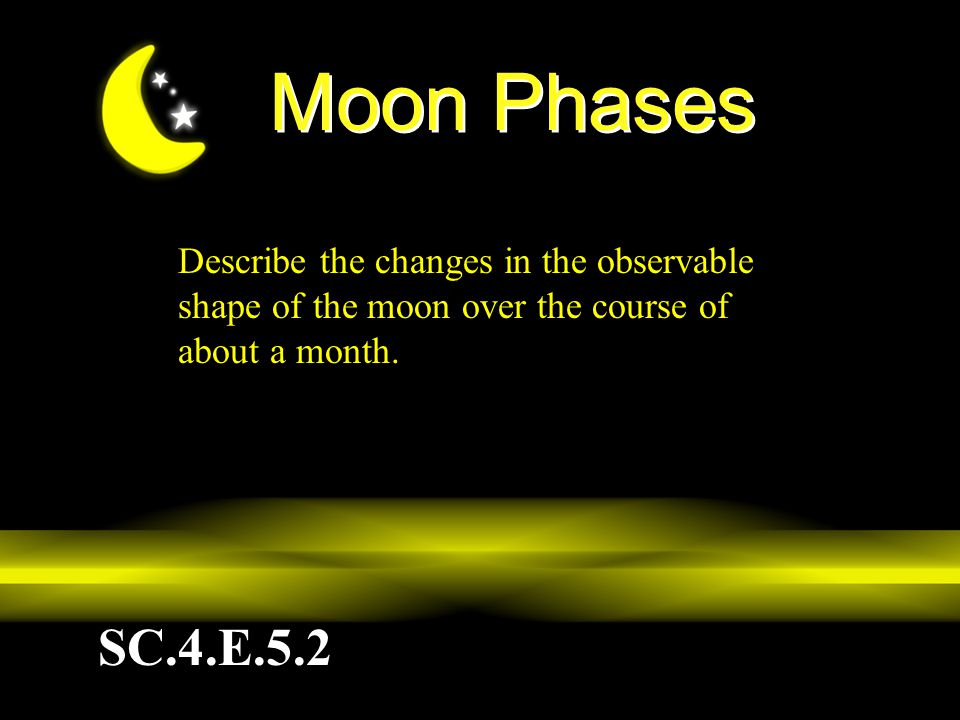 Moon Phases Describe the changes in the observable shape of the moon over the course of about a month.
