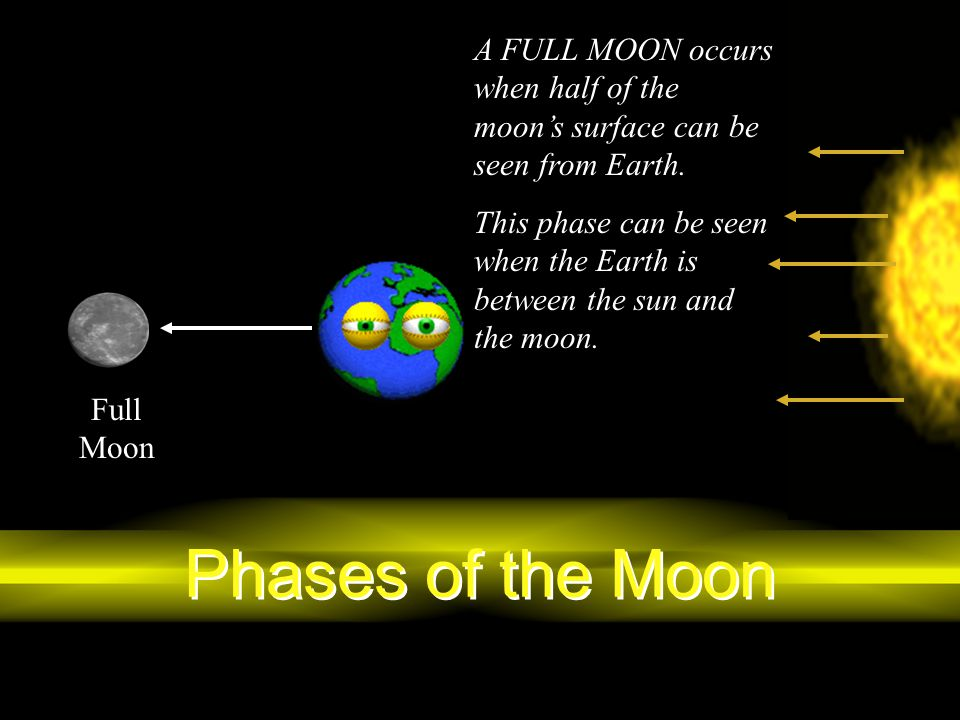 A FULL MOON occurs when half of the moon's surface can be seen from Earth.