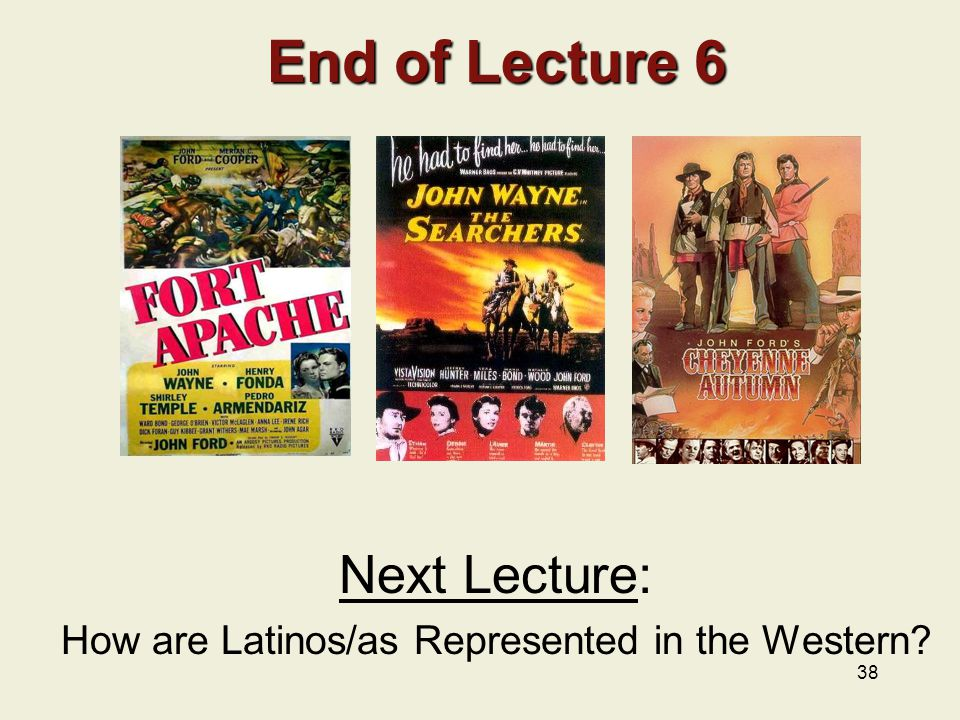 Next Lecture: How are Latinos/as Represented in the Western