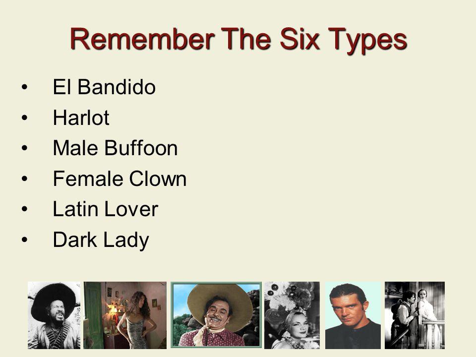El Bandido Harlot Male Buffoon Female Clown Latin Lover Dark Lady