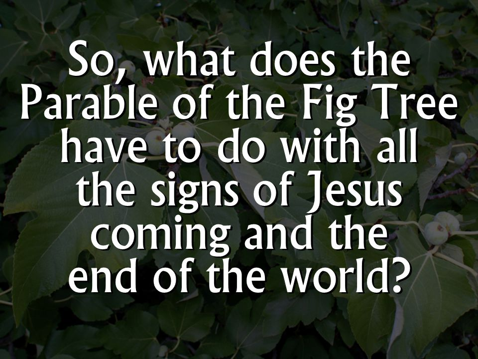 So, what does the Parable of the Fig Tree have to do with all the signs of Jesus coming and the end of the world
