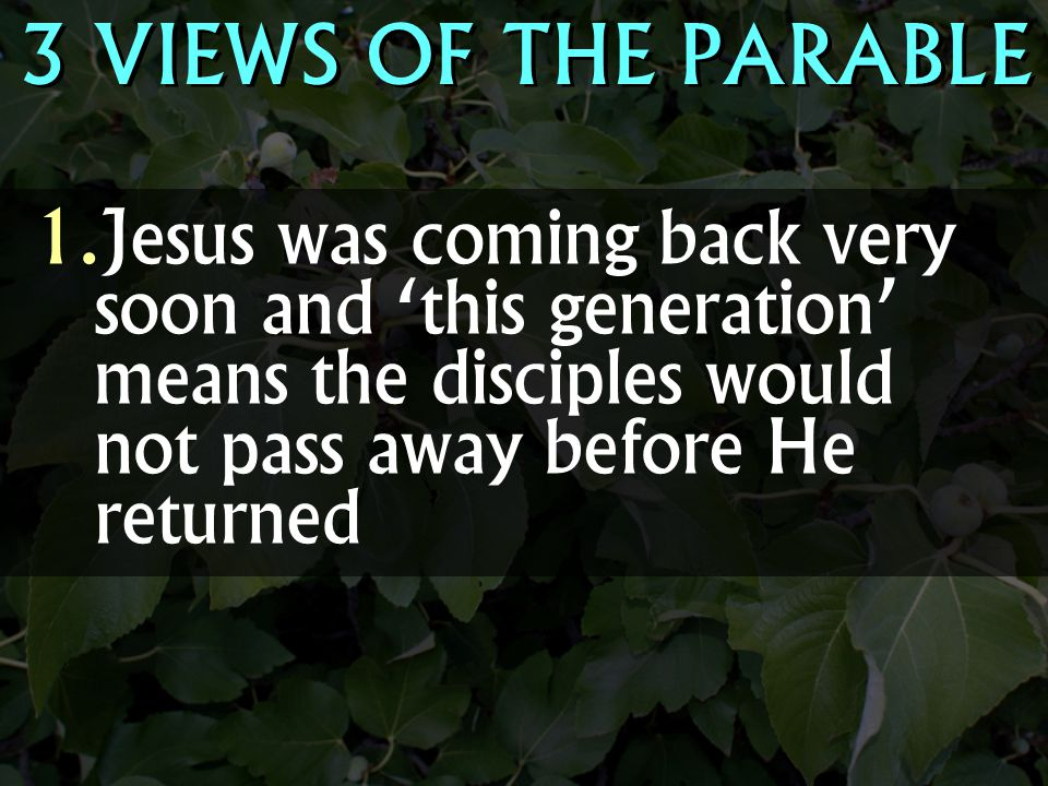 3 VIEWS OF THE PARABLE Jesus was coming back very soon and 'this generation' means the disciples would not pass away before He returned.