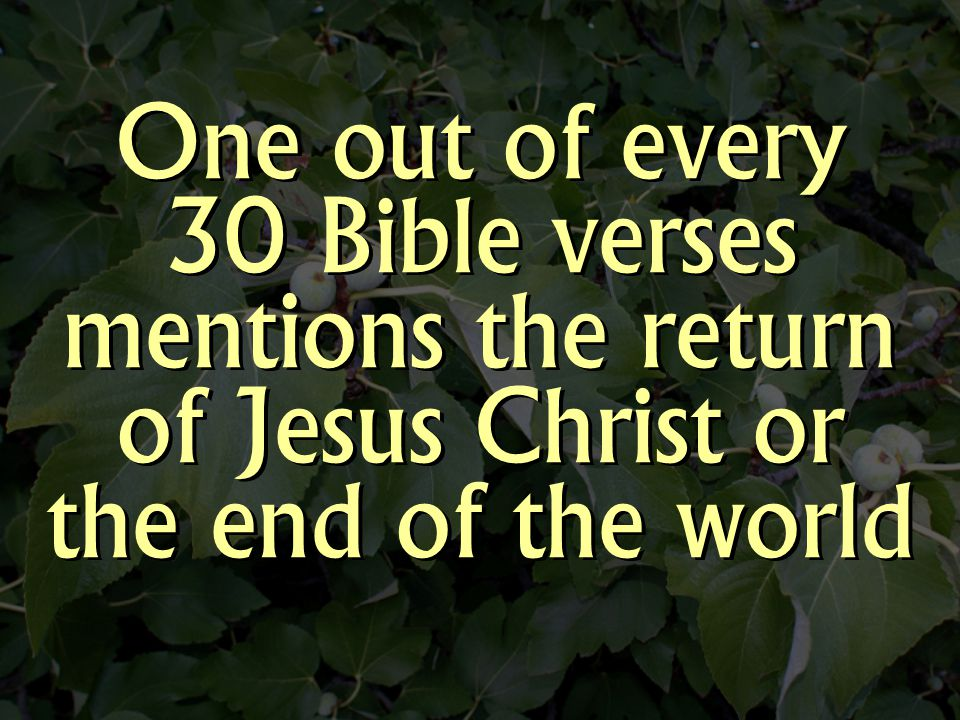 One out of every 30 Bible verses mentions the return of Jesus Christ or the end of the world