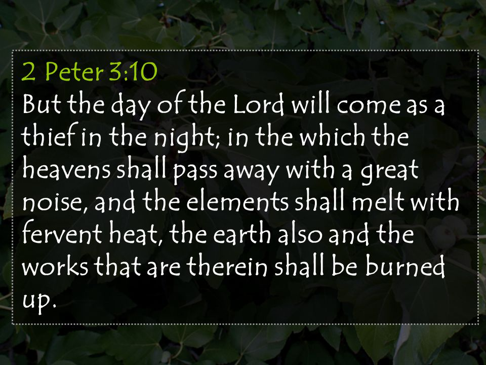 2 Peter 3:10 But the day of the Lord will come as a thief in the night; in the which the heavens shall pass away with a great noise, and the elements shall melt with fervent heat, the earth also and the works that are therein shall be burned up.