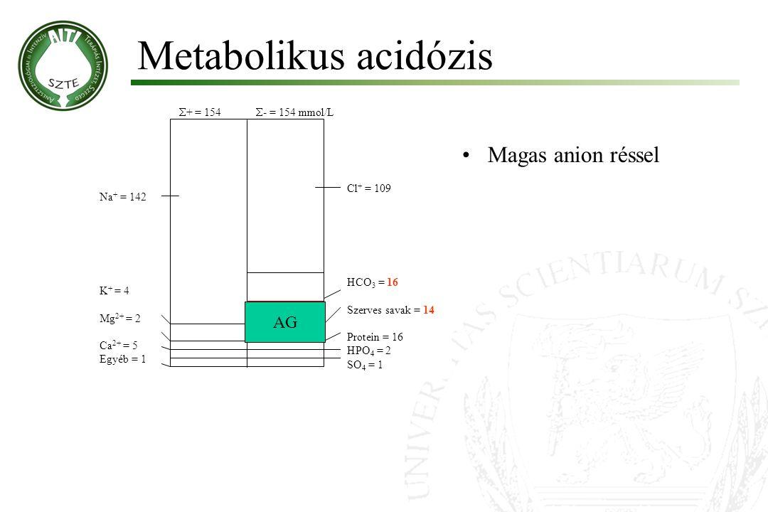 Metabolikus acidózis Magas anion réssel AG + = 154 - = 154 mmol/L