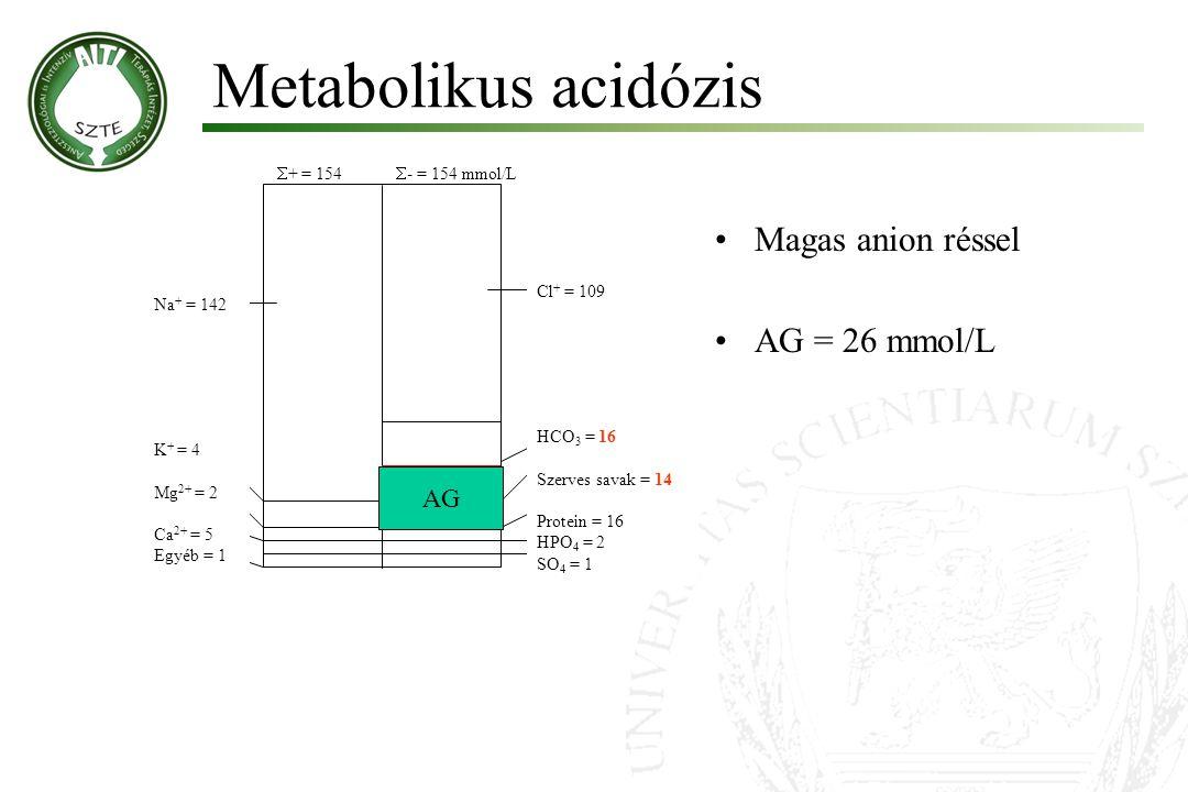 Metabolikus acidózis Magas anion réssel AG = 26 mmol/L AG + = 154