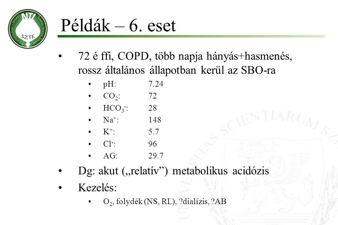 Példák – 6. eset 72 é ffi, COPD, több napja hányás+hasmenés, rossz általános állapotban kerül az SBO-ra.
