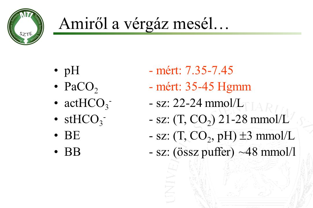 Amiről a vérgáz mesél… pH PaCO2 actHCO3- stHCO3- BE BB