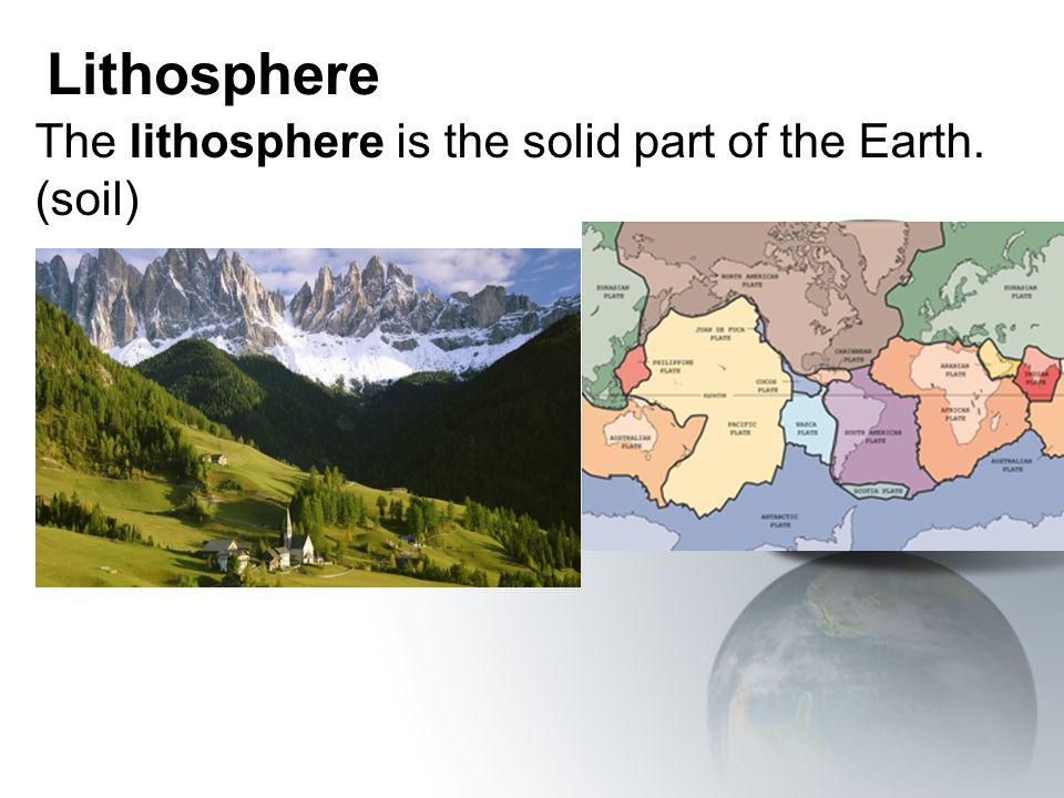The lithosphere is the solid part of the Earth. (soil)