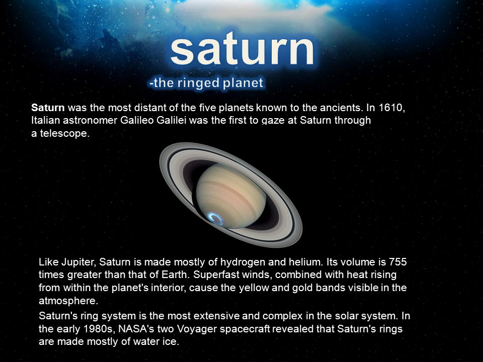 saturn -the ringed planet