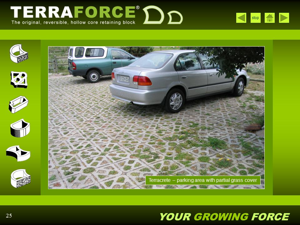 Terracrete – parking area with partial grass cover