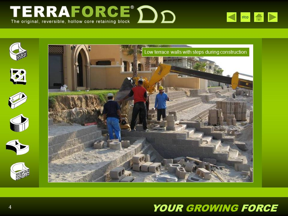 Low terrace walls with steps during construction