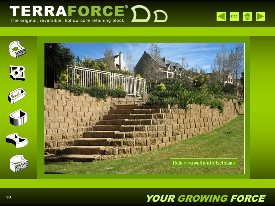 Retaining wall and offset stairs