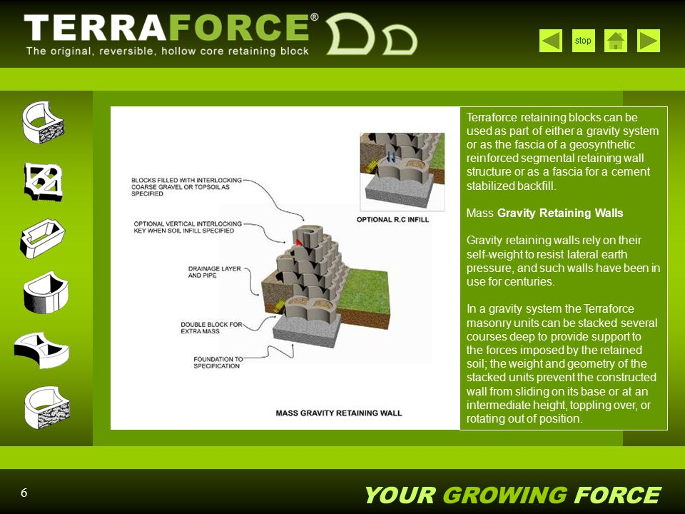 Terraforce retaining blocks can be used as part of either a gravity system or as the fascia of a geosynthetic reinforced segmental retaining wall structure or as a fascia for a cement stabilized backfill. Mass Gravity Retaining Walls Gravity retaining walls rely on their self-weight to resist lateral earth pressure, and such walls have been in use for centuries.