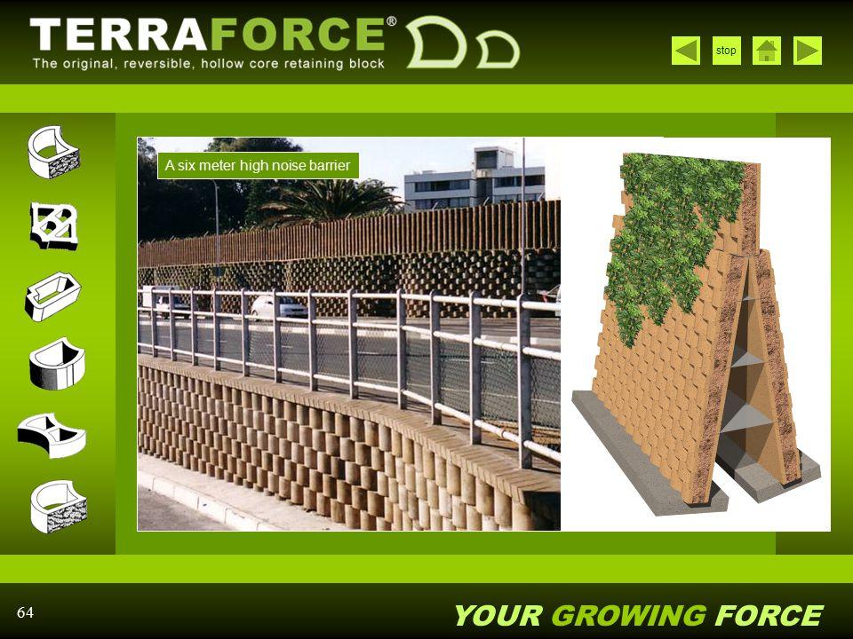 A six meter high noise barrier