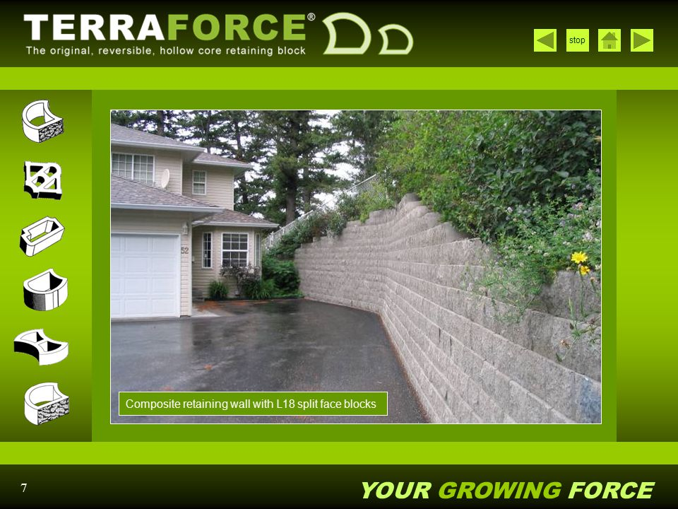 Composite retaining wall with L18 split face blocks