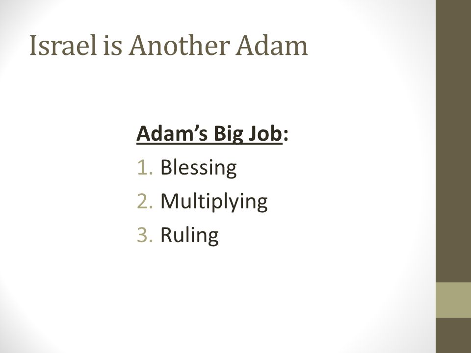 Israel is Another Adam Adam's Big Job: Blessing Multiplying Ruling
