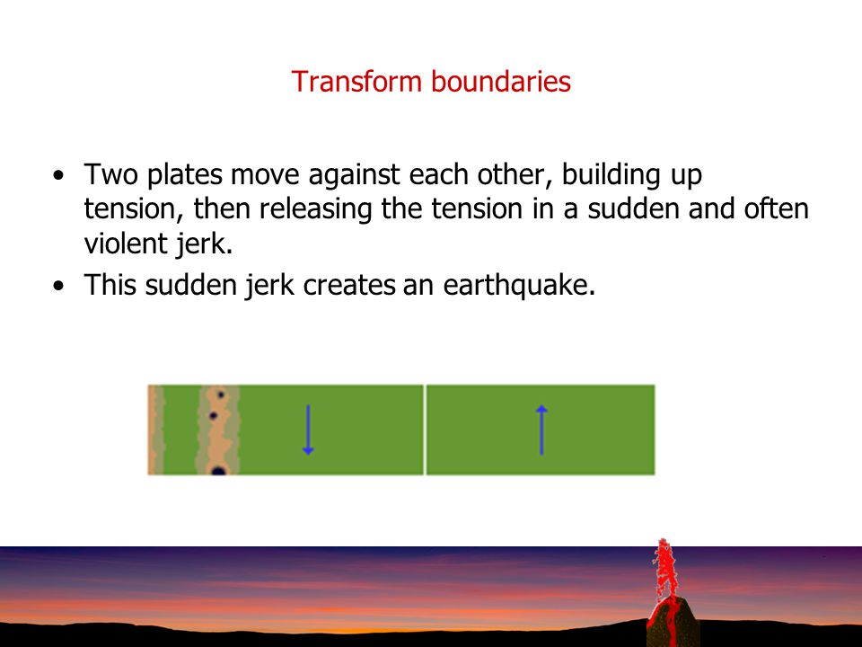 Transform boundaries Two plates move against each other, building up tension, then releasing the tension in a sudden and often violent jerk.