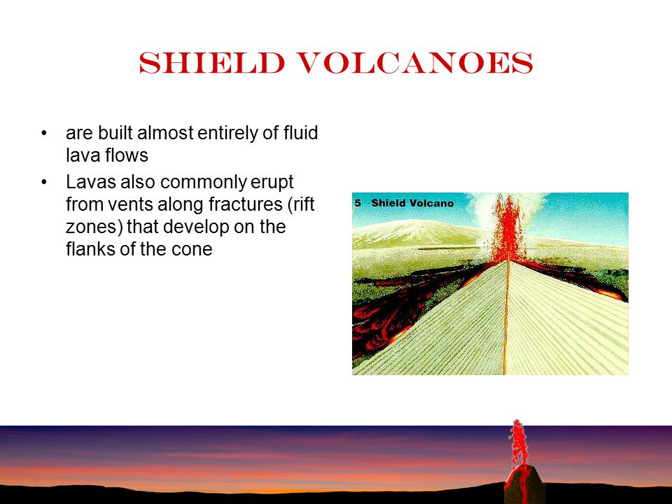 Shield volcanoes are built almost entirely of fluid lava flows
