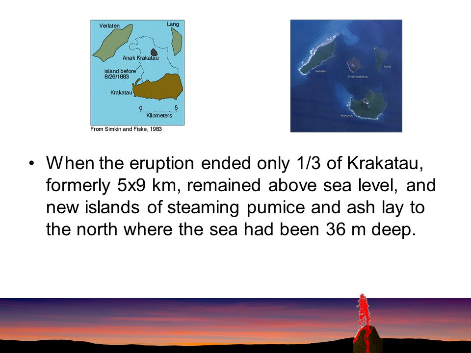 When the eruption ended only 1/3 of Krakatau, formerly 5x9 km, remained above sea level, and new islands of steaming pumice and ash lay to the north where the sea had been 36 m deep.