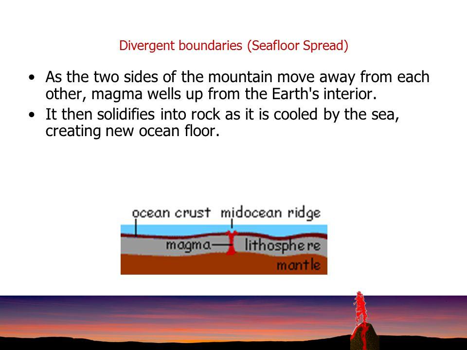 Divergent boundaries (Seafloor Spread)
