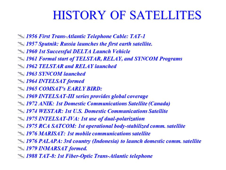 HISTORY OF SATELLITES 1956 First Trans-Atlantic Telephone Cable: TAT-1