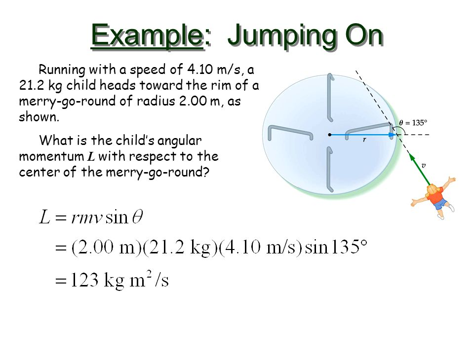 Example: Jumping On Running with a speed of 4.10 m/s, a 21.2 kg child heads toward the rim of a merry-go-round of radius 2.00 m, as shown.