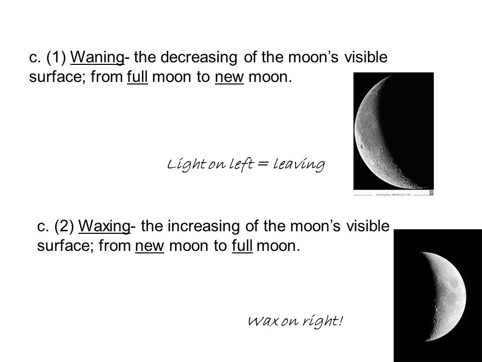 c. (1) Waning- the decreasing of the moon's visible surface; from full moon to new moon.