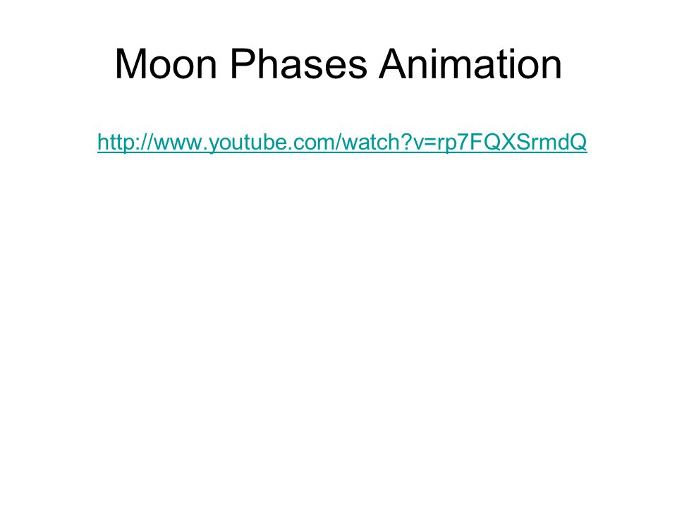 Moon Phases Animation http://www.youtube.com/watch v=rp7FQXSrmdQ