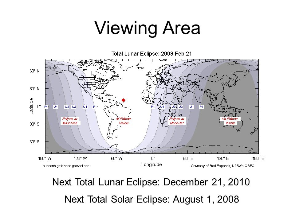 Viewing Area Next Total Lunar Eclipse: December 21, 2010