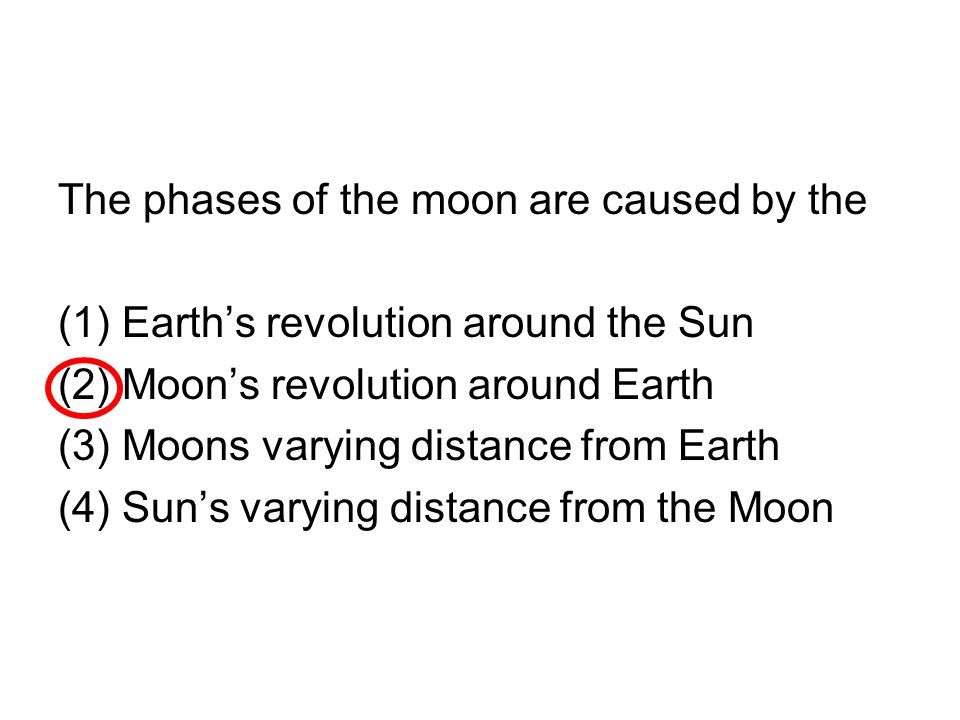 The phases of the moon are caused by the