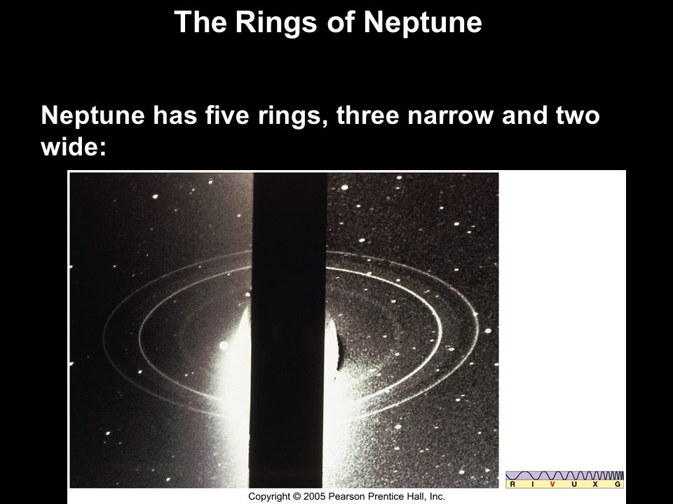 The Rings of Neptune Neptune has five rings, three narrow and two wide: