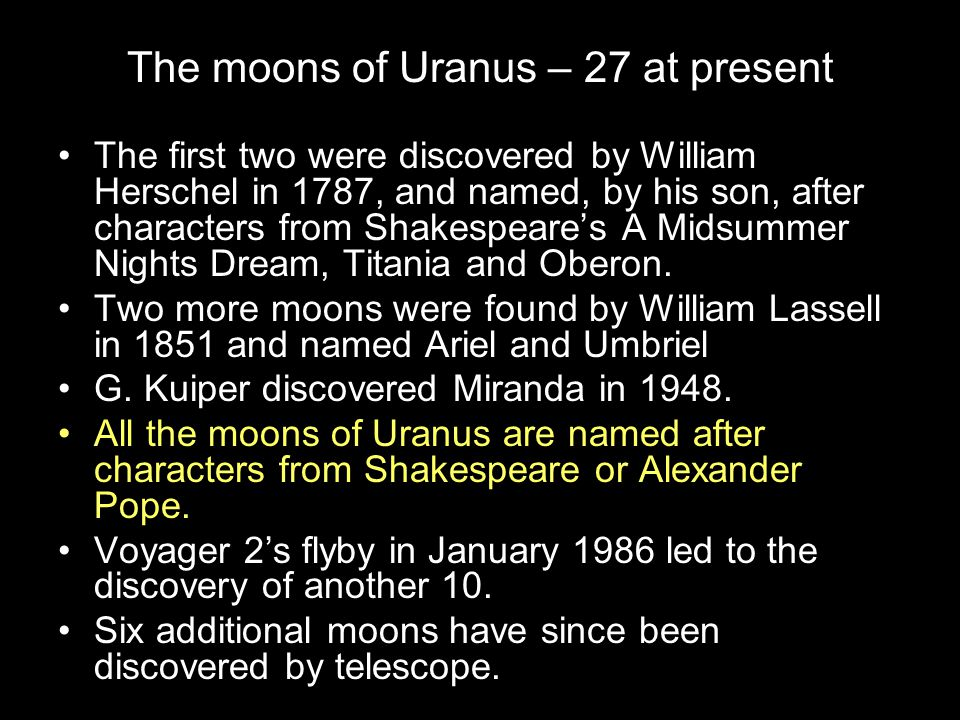 The moons of Uranus – 27 at present